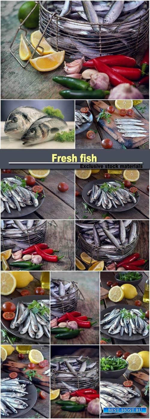 Fresh fish, tomato and lemon