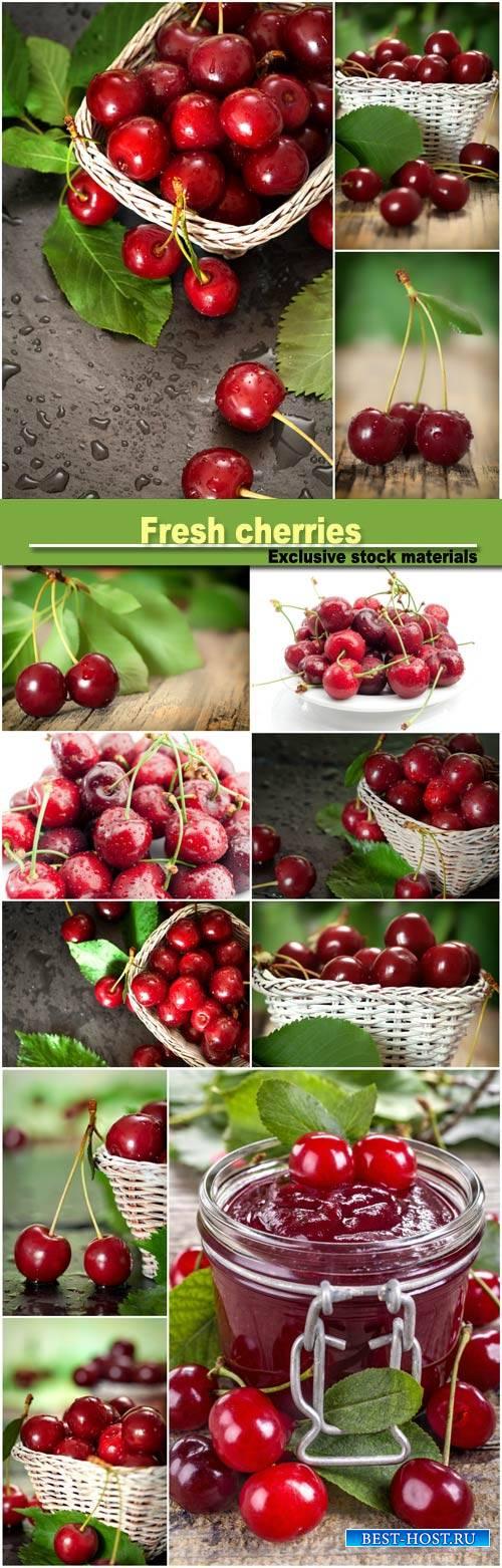 Fresh cherries, delicious fruits