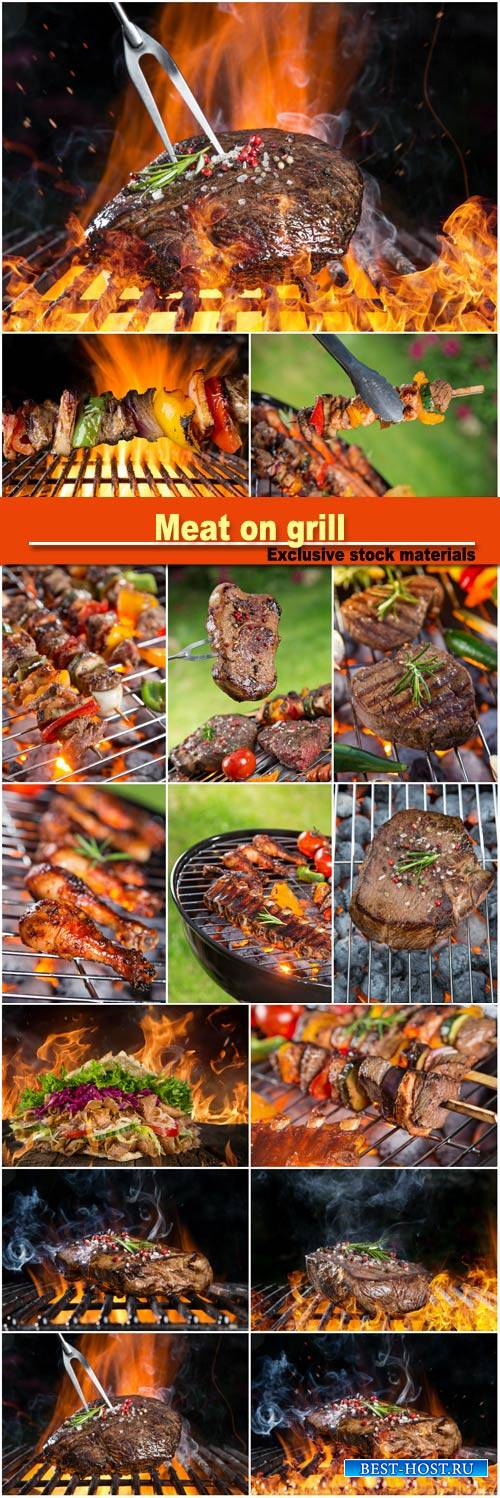Meat on grill, barbeque
