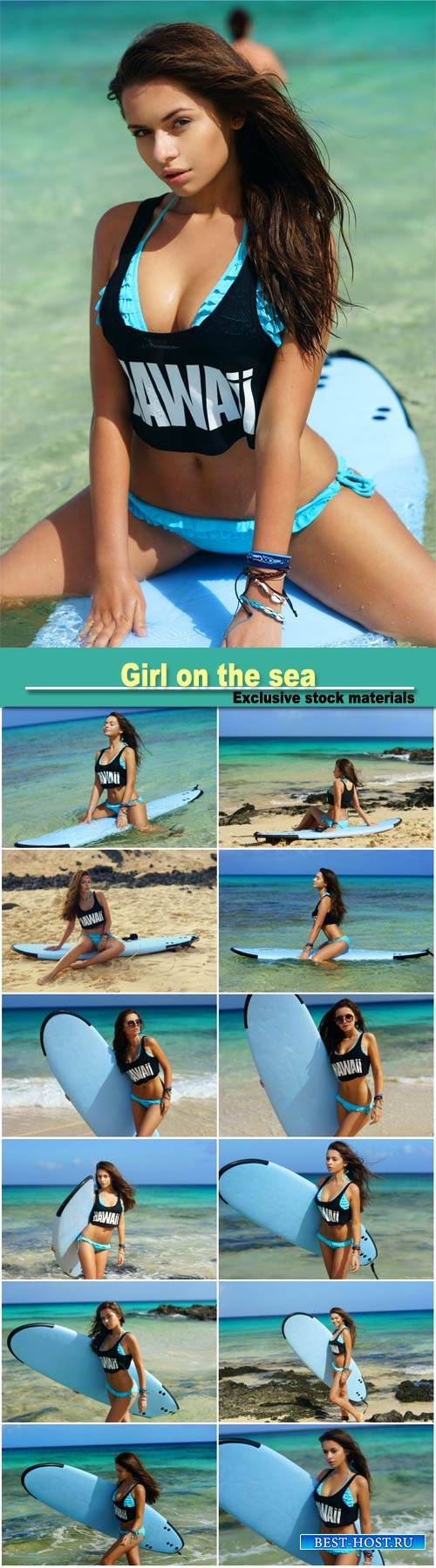Girl on the sea, surfing