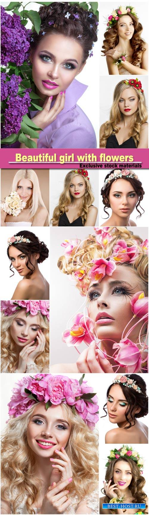 Beautiful girl with flowers, woman with a wreath on his head