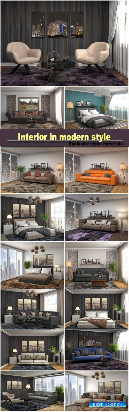 Interior in modern style, bedroom