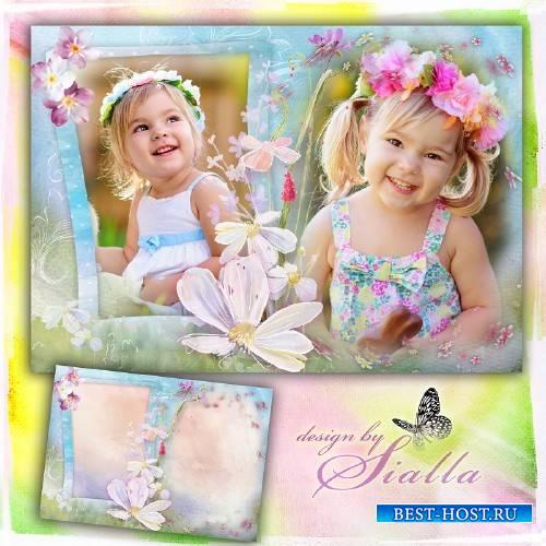 Фоторамка на 2 фото-   Цветочки маленького счастья