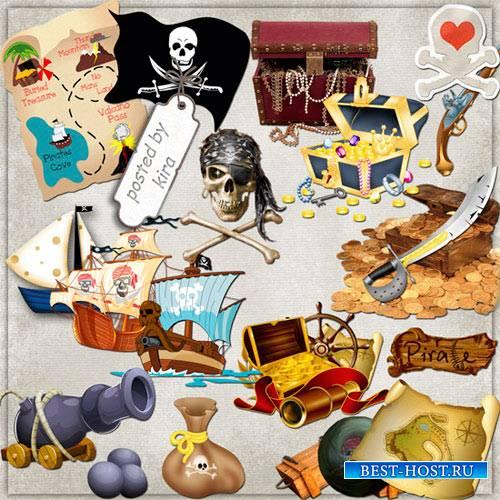 Клипарт - Пиратские атрибуты, сокровища
