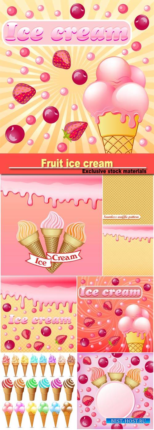 Illustration background with the influx of strawberry cream and with a set of fruit ice cream with a ribbon