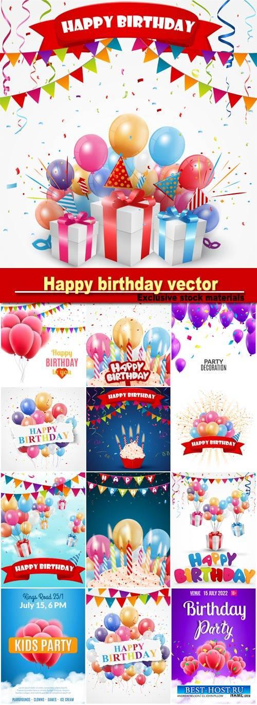 Happy birthday, vector posters