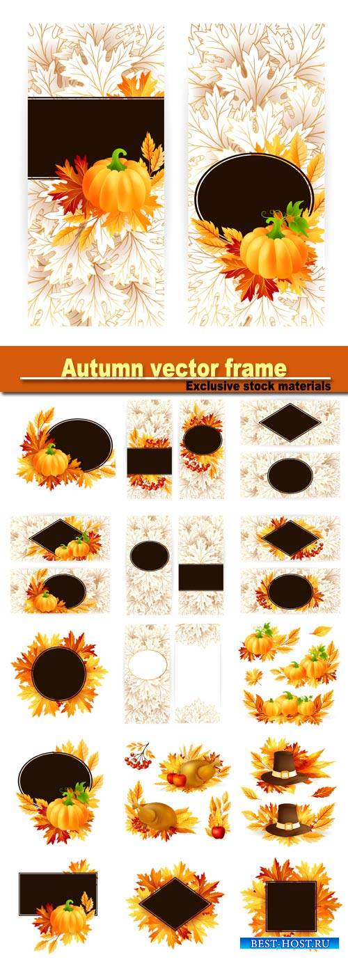 Autumn vector with leaves and mountain ash, pumpkin