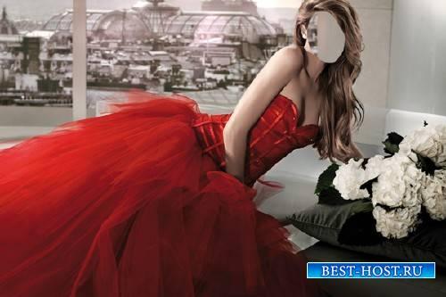 Шаблон женский - В королевском красном платье
