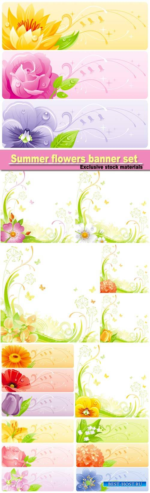 Summer flowers banner set with natural background