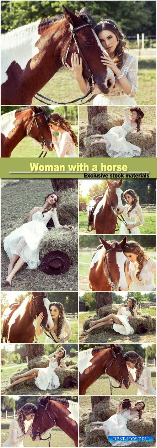 Beautiful glamour woman with a horse