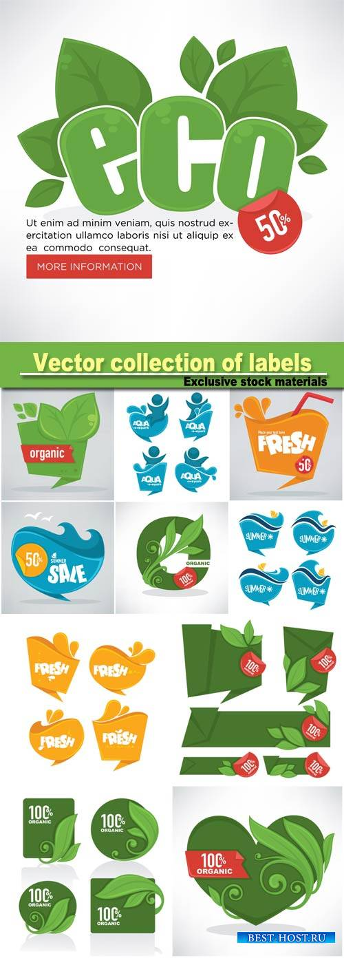 Fresh, organic and green, vector collection of labels, stickers and banner template design