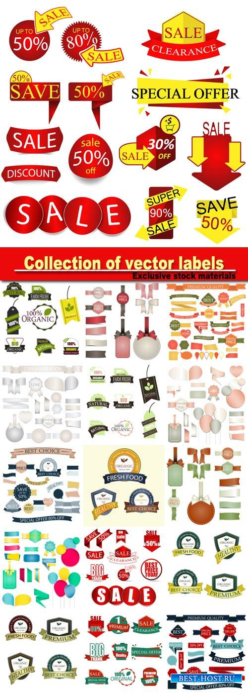 Collection of vector labels, vintage design elements, discount label