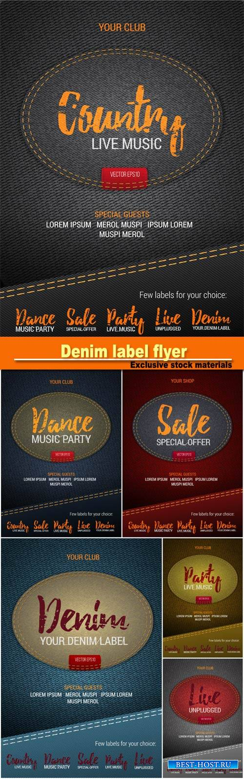 Denim label flyer or banner with denim background, denim label