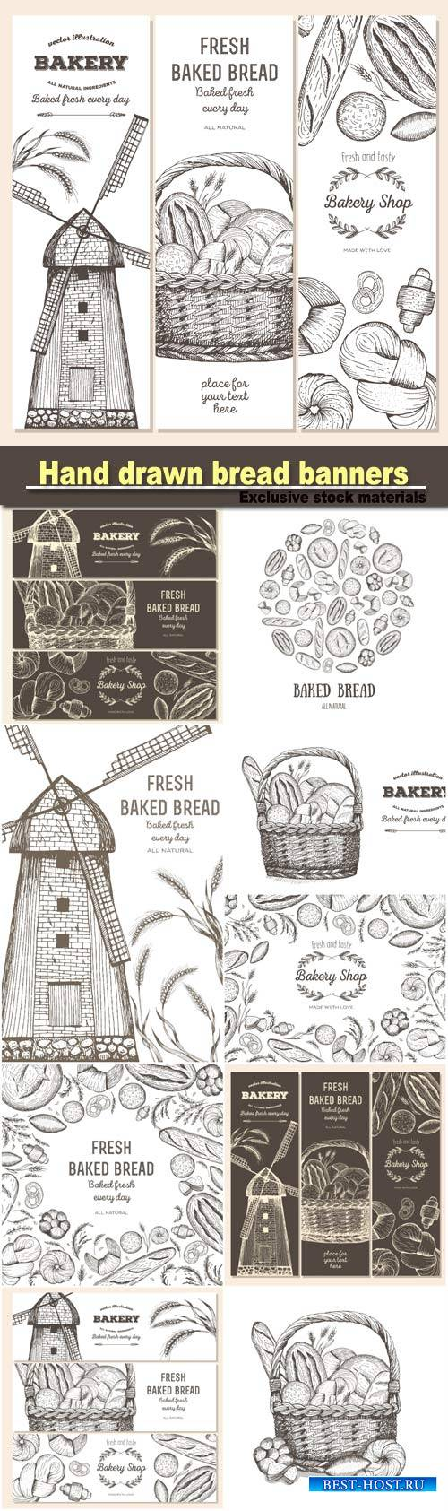 Hand drawn bread horizontal banners, vector illustration in sketch style