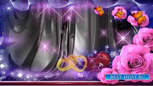 Свадебный фон - Красивые розы и бабочки