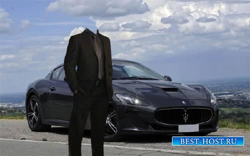 Шаблон psd мужской - На классной Maserati