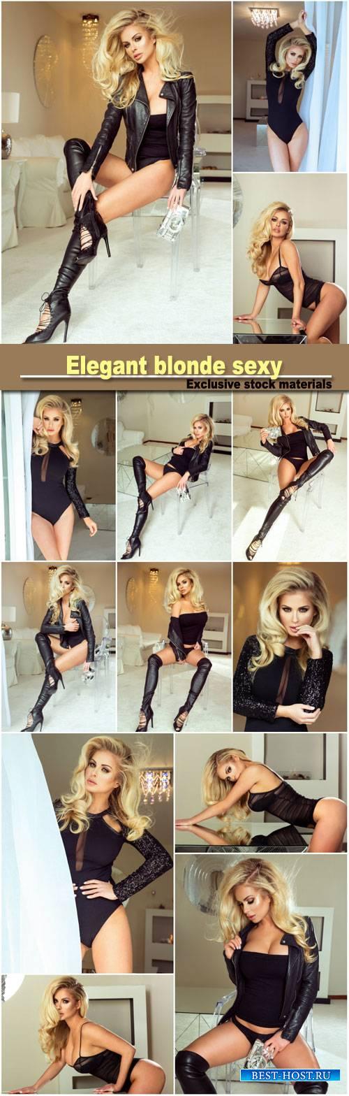 Elegant blonde, sexy lady posing