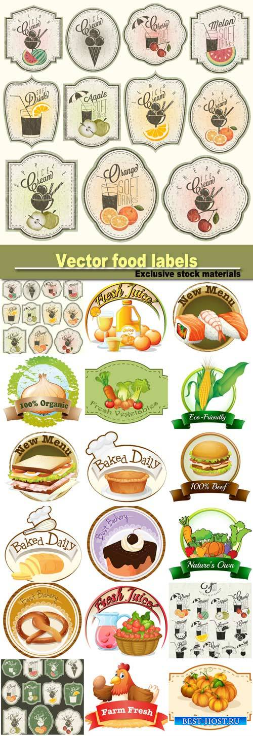 Vector food labels, food and drink