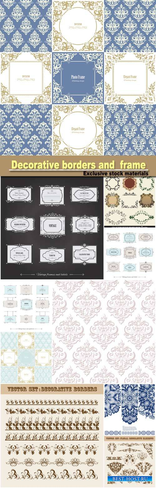 Vector set of floral decorative borders and