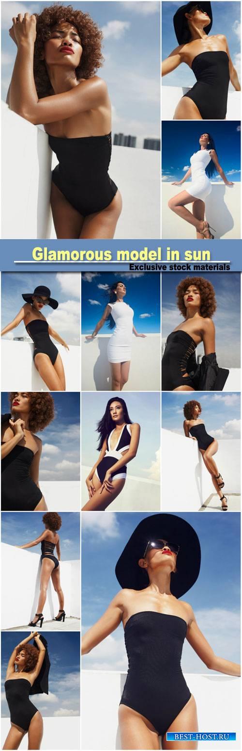 Glamorous model in sun, hottest day in fashion
