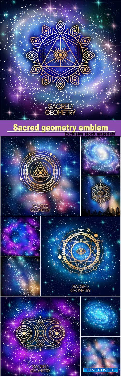 Sacred geometry emblem with eye in star on shining galaxy space background