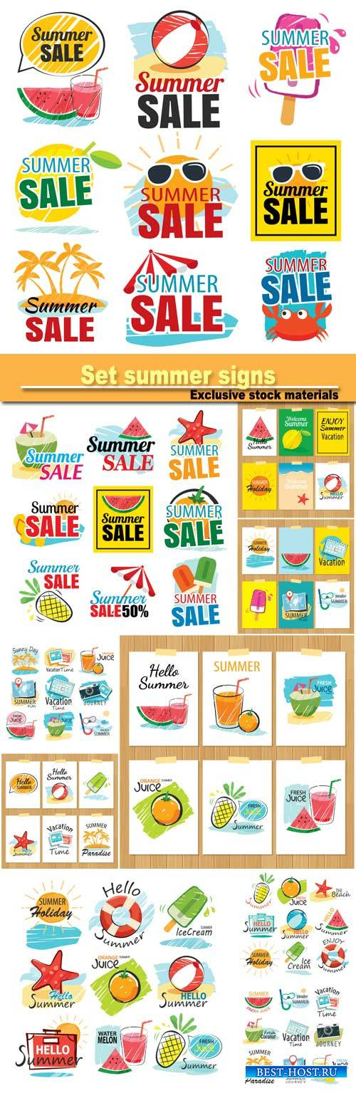 Set of hand drawn summer signs and banners, graphic for summer holiday