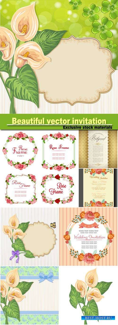 Beautiful vector invitation with flowers, calla vector