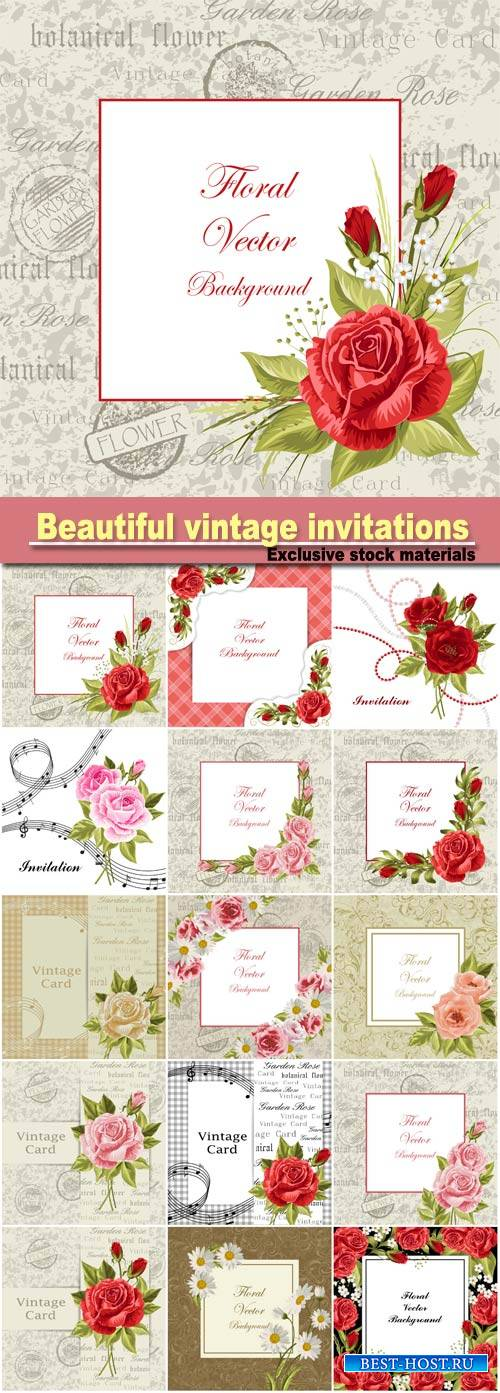Vector illustration of a beautiful vintage  with flowers for invitations an ...