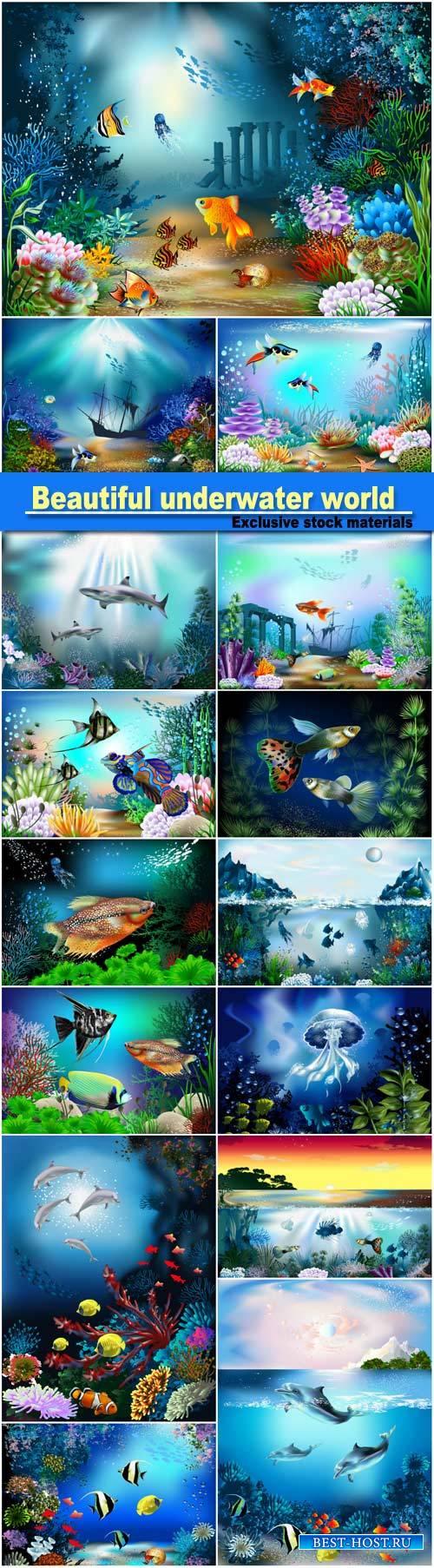 Beautiful underwater world, fish and marine life vector