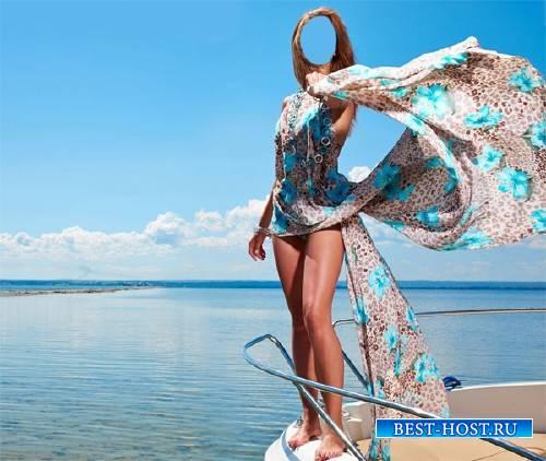 Шаблон для фотошопа - Летний отдых на яхте в море