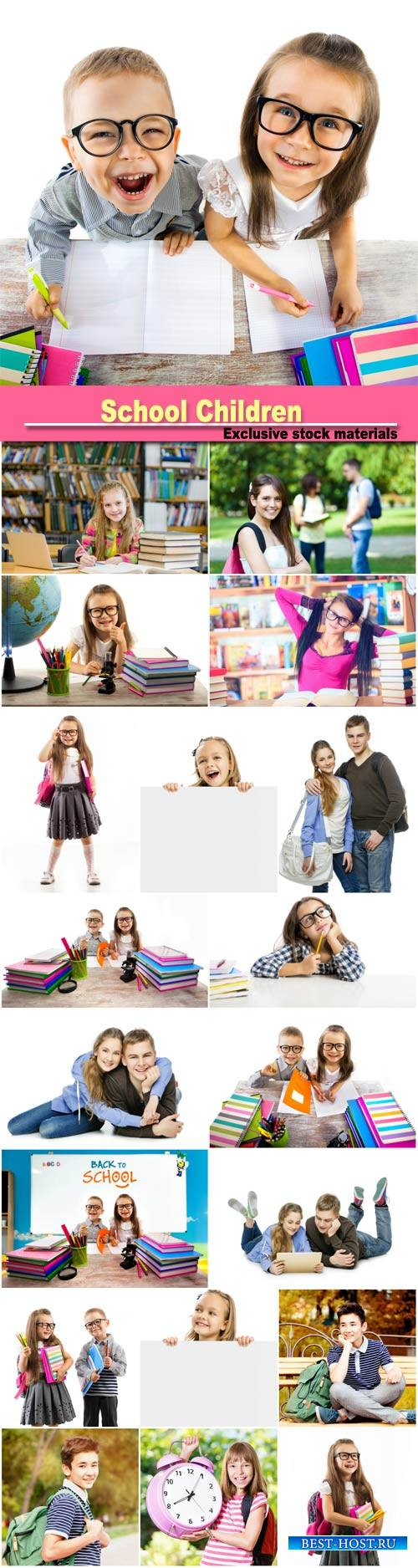 School Children, student with glasses reading books in the library