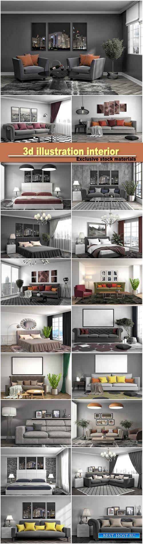 3d illustration bedroom interior, interior with sofa