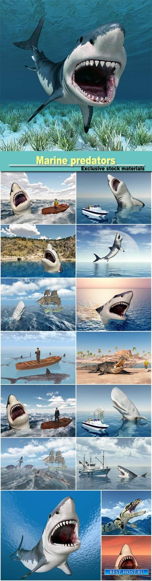 Marine predators, sharks 3D illustration