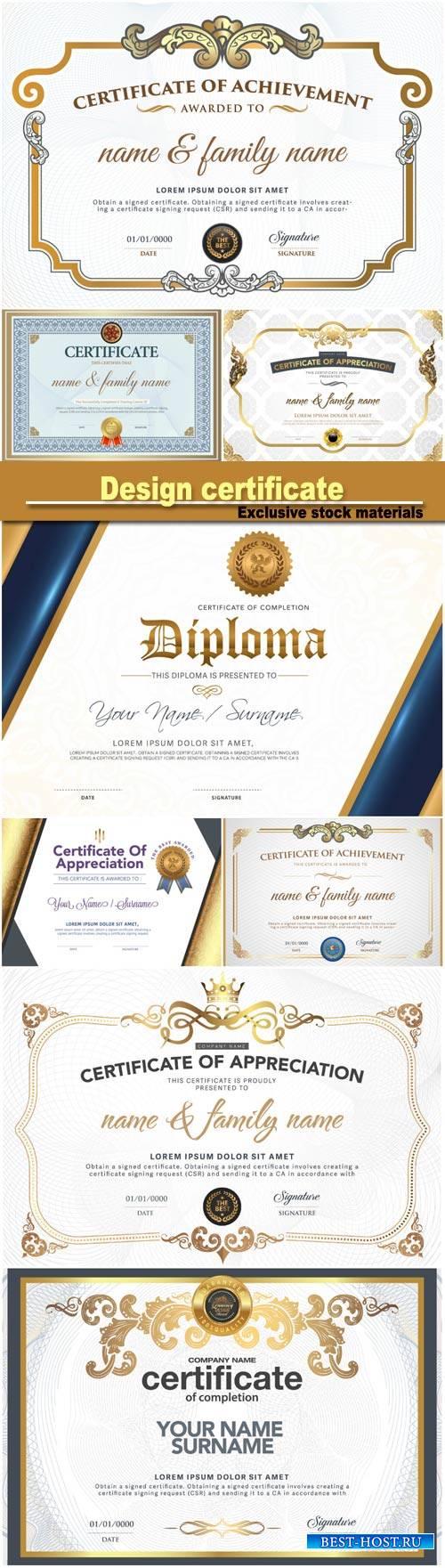 Design certificate, vector illustration