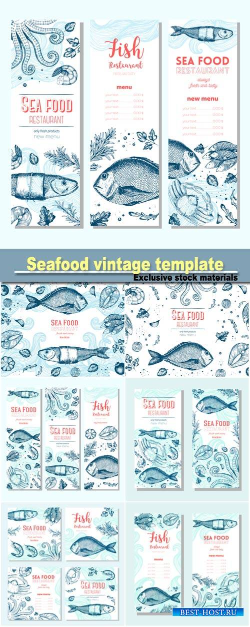 Seafood vintage design template, vertical banners set, fish and seafood res ...