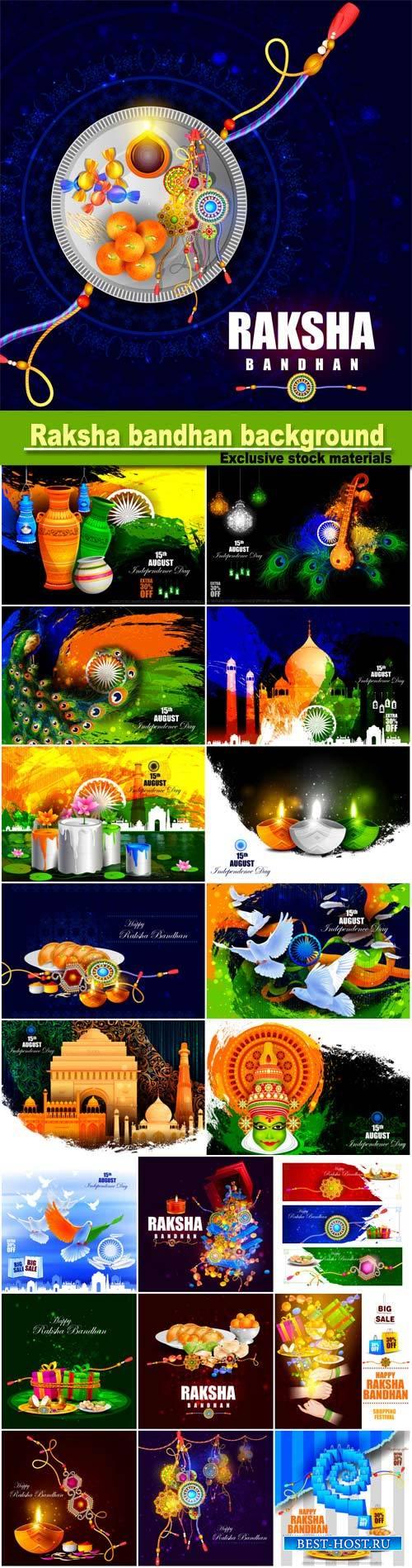 Vector illustration of Raksha bandhan background for Indian festival celebr ...