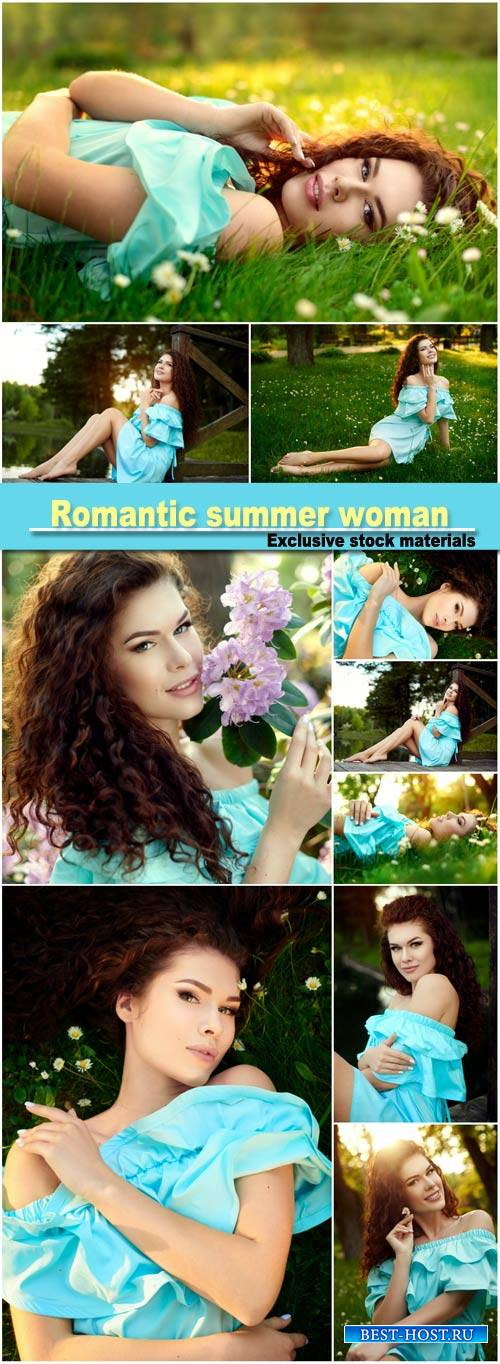 Romantic summer woman relaxing on sunshine flower meadow