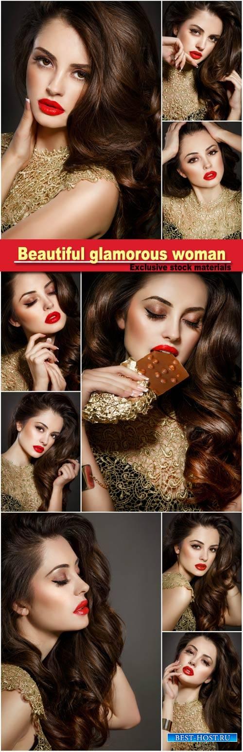 Beautiful glamorous woman with long hair and stylish make-up