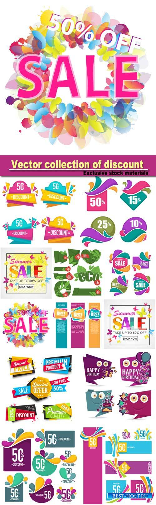 Vector collection of discount and sale bubbles, tags, banners and stickers