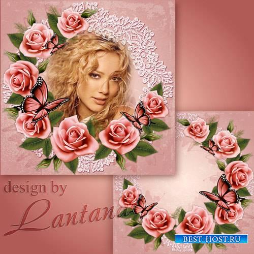 Psd исходник - Розовые розы, розовый венок