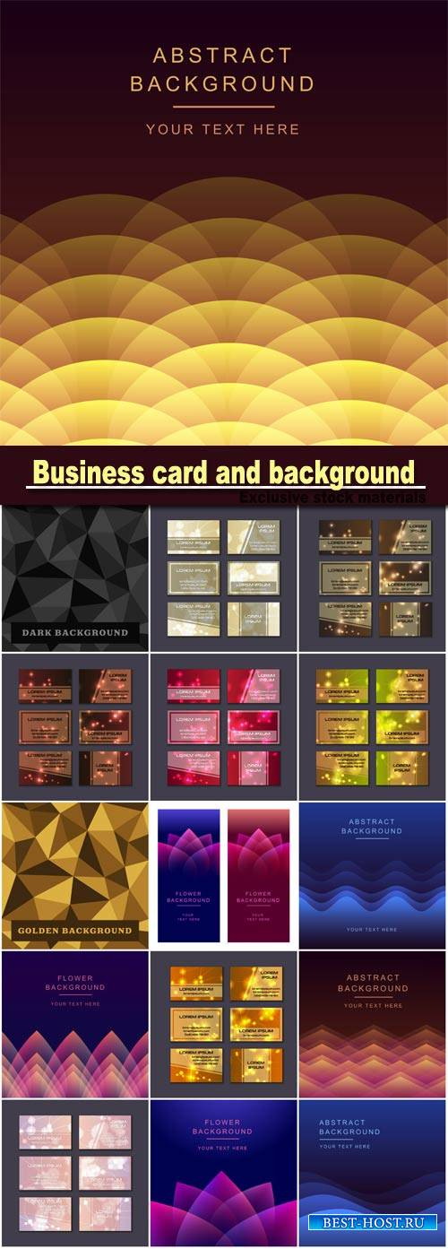 Business card collection, abstract geometric background