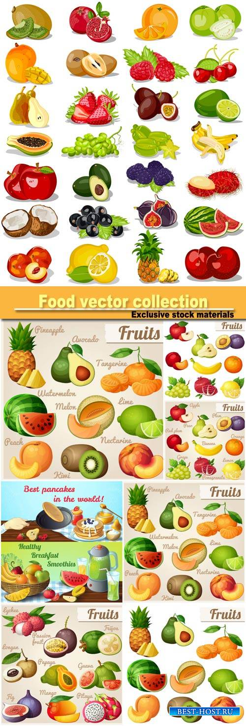 Fruit product, food vector collection