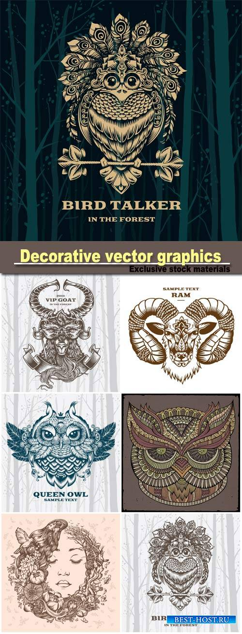 Decorative vector graphics, bird talker, goat, owl and girl on the nature
