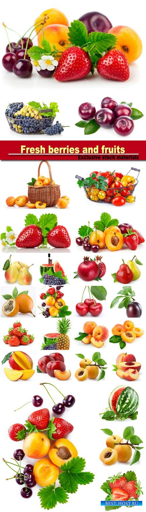Fresh berries and fruits in still life with green leaves strawberry, apricot, cherry, plum isolated on white background