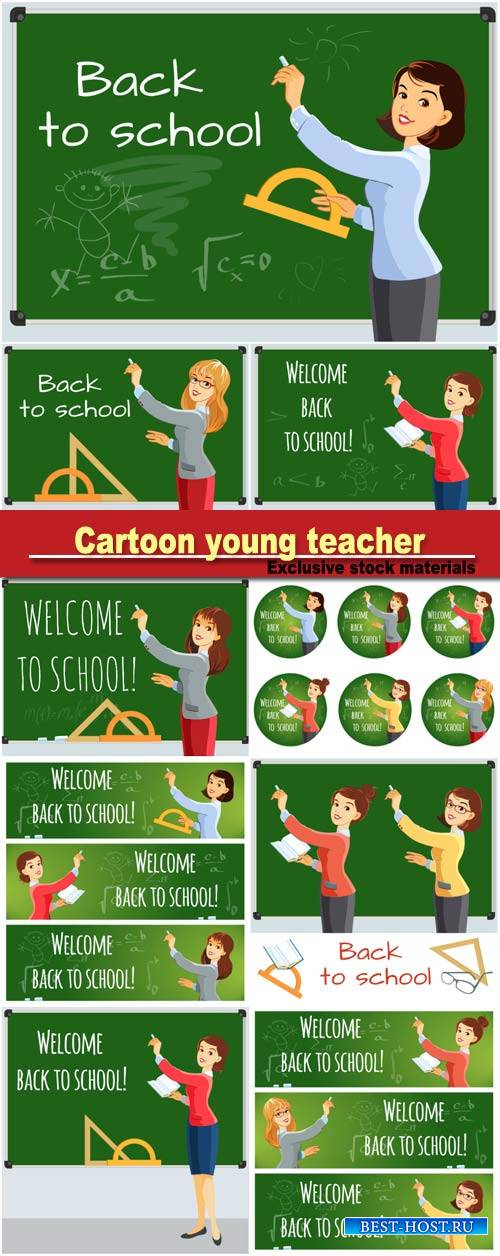 Cartoon young teacher wrote on the school board, teacher welcomes students  ...