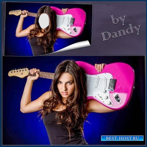 Шаблон для фотошопа - Девушка с красной гитарой