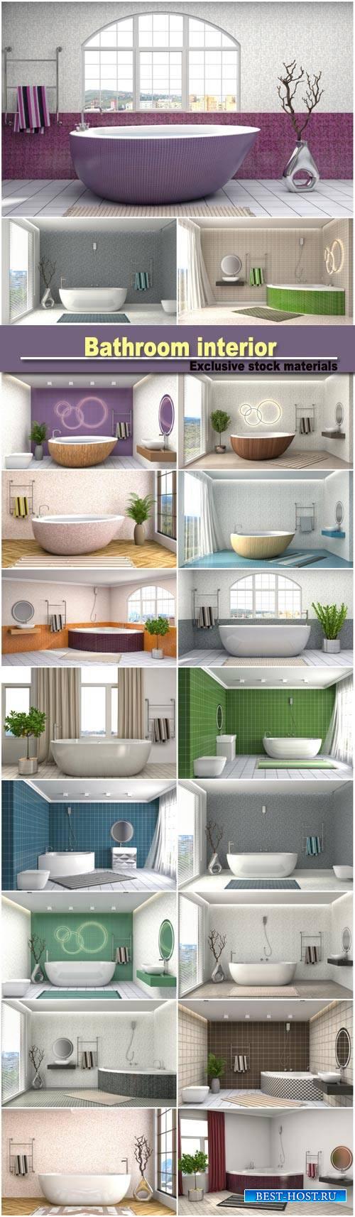 Bathroom interior, 3D illustration