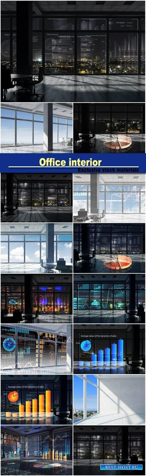 Night office interior, white office interior, mixed media