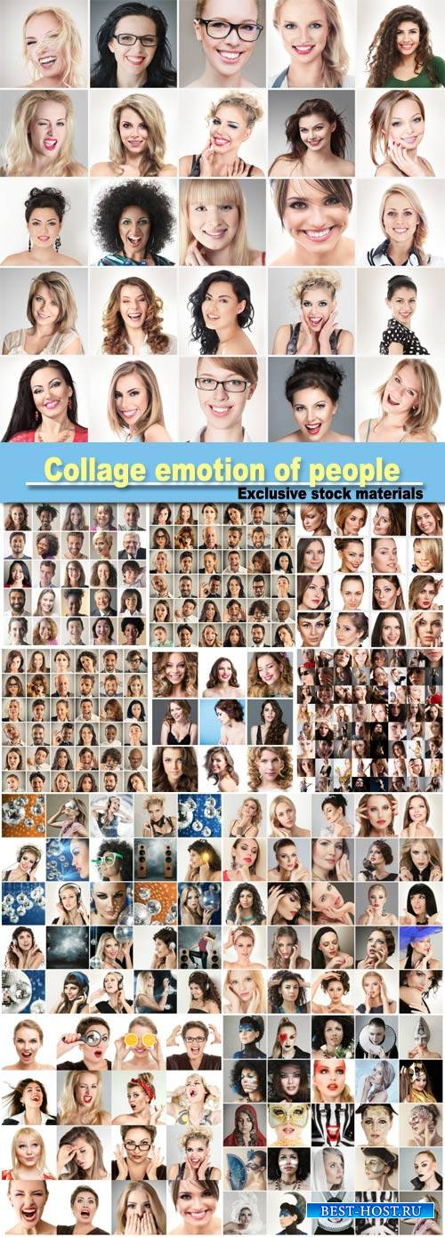 Collage emotion of people, people faces, set of woman portraits