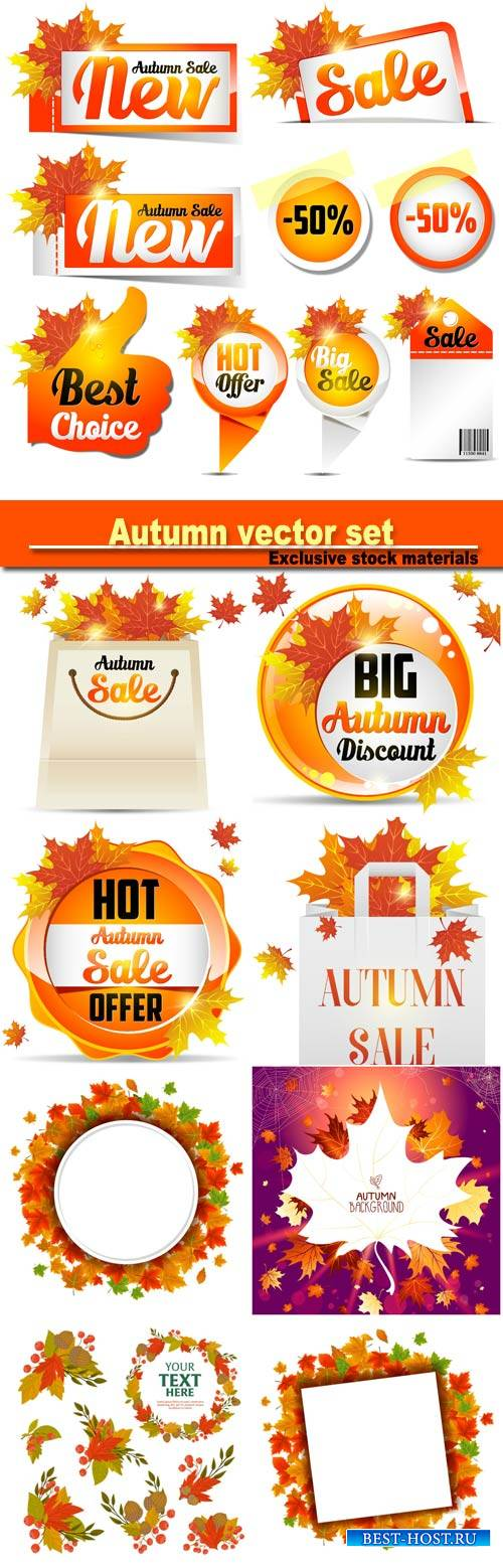 Wonderful autumn leaves background, discount and sale, tags, banners and st ...